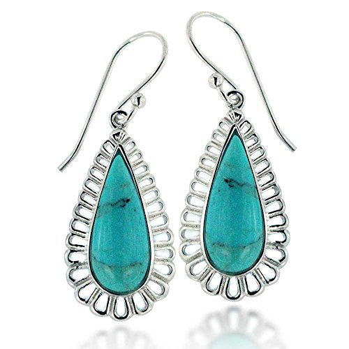 - Rhodium Plated 925 Sterling Silver Long Pear Teardrop Compressed Turquoise Gemstone Dangle Earrings