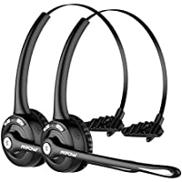 Mpow Pro (2-Pack) Truck Driver Bluetooth Headset/ Office Headset, Wireless Over the Head Earpiece w/ Mic, On-Ear Headset for Call Center, Skype, VoIP