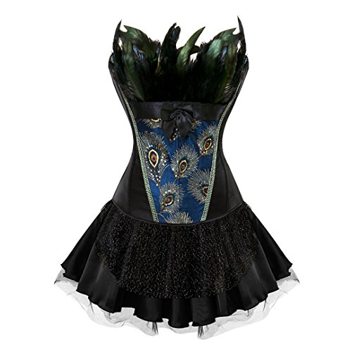 Plus Size Peacock Dress (Halloween Women's Burlesque Peacock Feather Satin Corset with Skirt Fancy Dress Clubwear 5X-Large Black)