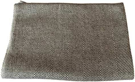 9203b5a993c 100% Cashmere Scarf Men and Women Herringbone overall Gray with Gray-Brown  lines on