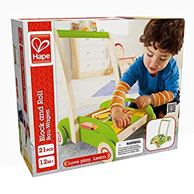 Hape Block and Roll Cart Toddler Wooden Push and Pull Toy: Toys & Games