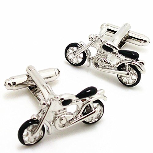 (Covink Men's Rhodium Plated Enamel Cufflinks Silver Black Motorcycle Bike Shirt Wedding)