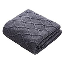 Lutanky Lovely Cable Knit Throw Blanket 100% Cotton Natural Throw Blanket for Sofa Couch Bed (120 x 180 cm) (grey)