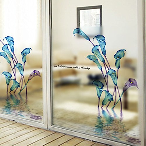 Keepforeverlove Frosted Glass Sticker, Frosted Sticker For Bathroom Balcony Sliding Door Waterproof Decorative Window Film (Calla)