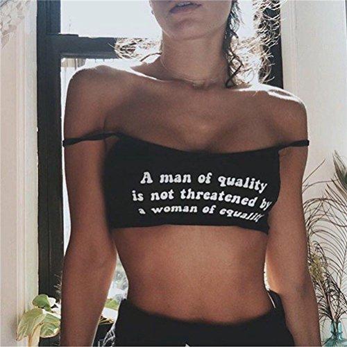 Tinksky Mujeres Chaleco La nueva letra inglesa Imprimir Tops Sling Chaleco Tamaño de la camisa L -gift para las mujeres (Negro)