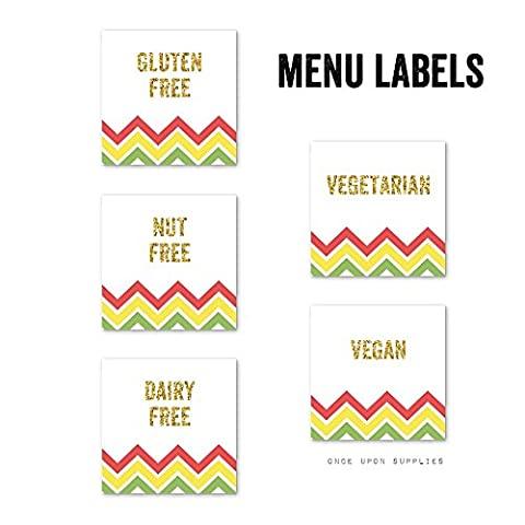 Fiesta Chevron Stripes Birthday Party Food Allergy Labels by Once Upon Supplies, Gluten Free, Dairy Free, Nut Free, Vegan, Vegetarian Stickers for Party Buffet Table, 2x2