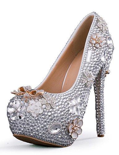 Textiles / Home ZQ tal¨®n de los zapatos de tac¨®n de aguja zapatos de tac¨®n de la boda/del partido de las mujeres&?noche/vestido de plata, 5in & over-silver 5in & over-silver