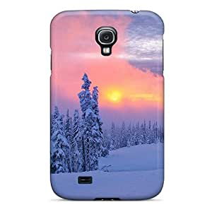 New Premium Flip Case Cover Winter Sunset In Pink Skin Case For Galaxy S4