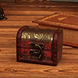 Tuscom Jewelry Box Vintage Wood Handmade Box with Mini Metal Lock for Storing Jewelry Treasure Pearl for Wife Mom Girlfriend Women (Cherry Box)