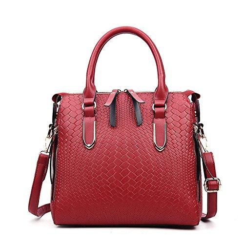 KYOKIM Trendy Fashion Classique Gaufré Crocodile Sac Grande Capacité Sacsà Main épaule Main Red