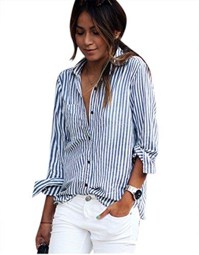 Billti Ladies Turn-down Collar Vertical Striped Casual Shirt Blouse
