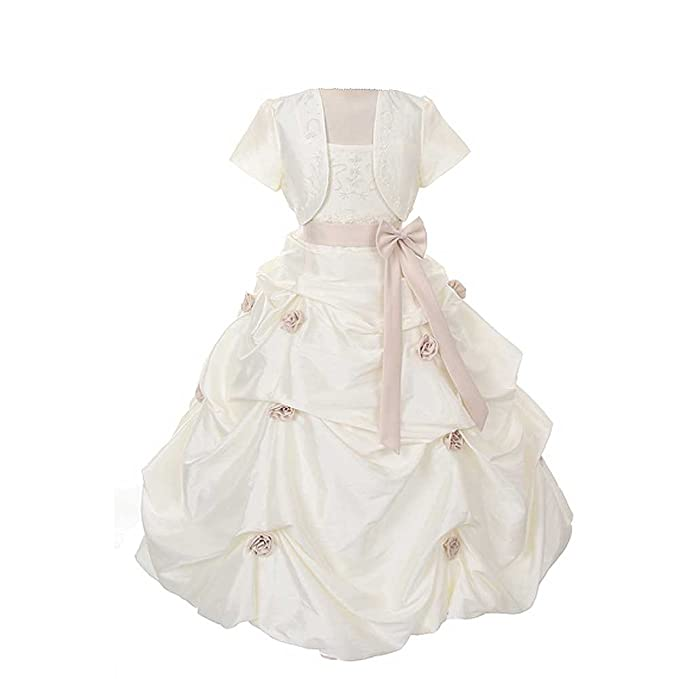 8ecf5acd0abf5 Amazon.com: Rain Kids Ivory Khaki Flower Pickup Pageant Flower Girl ...