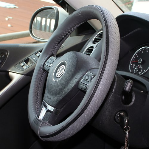 Circle Cool Grey PVC Leather Black Strip Steering Wheel Cover Wrap w/ Needle & Thread 14