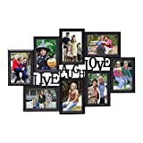 Adeco 8 Openings Deocrative Black LIVE LAUGH LOVE Wall Hanging Collage Picutre Photo Frame - Made to Display Eight 4x6 Photos