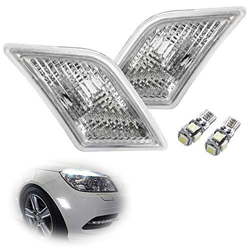 (iJDMTOY Euro Clear Lens White LED Bulb Front Side Marker Light Kit For 2008-11 Mercedes Pre-LCI W204 C250 C300 C350 & 2008-2013 C63 AMG, Replace OEM Amber Sidemarker Lamps)