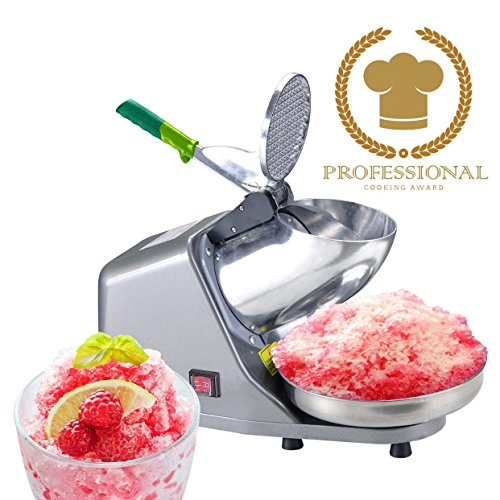 Koval Inc. Heavy Duty, Stainless Steel Ice Shaver, Snow Cone Machine, Electric Shaved Ice Machine (143 lbs/hr 200W Ice Shaver)