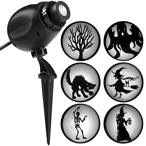 Gemmy 6 Silhouette Projection Multi-Function White Led Multi-Design Halloween Outdoor Stake Light Projector -