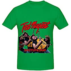 Ted Nugent Shutup And Jam Tour Electronica Men Crew Neck Big Tall T Shirt Green