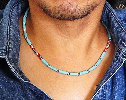 Mens Beaded Necklace Choker – Blue Magnesite Stone and Red Coral – Handmade Jewelry for Men