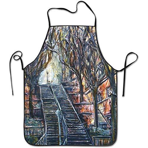 stylish&home Beautiful Les Escaliers De Montmartre Durable Unisex Chef Apron