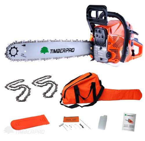 TIMBERPRO 62cc 20-Inch Gas Chainsaw with 2 chains, Carry Bag and Assisted Start | Best Value for the Money