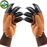 Garden Genie Gloves Gardening Gloves with Claw Garden Gloves With Fingertips for Digging Planting As Seen on TV ( (Right Hand Left Hand Claws 1Pair ) Brown