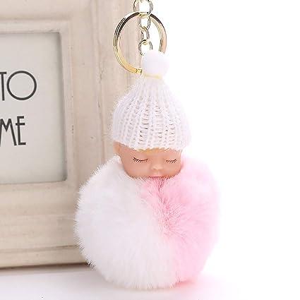 Llavero de piel de pompón esponjoso para dormir de bebé ...