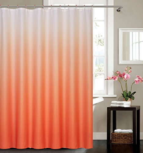 BH Home & Linen 13 Piece Ombre Waffle Fabric Weave Shower Curtain with a Matching 12 Pc Metal Roller Ball Shower Curtain Hooks (Orange)