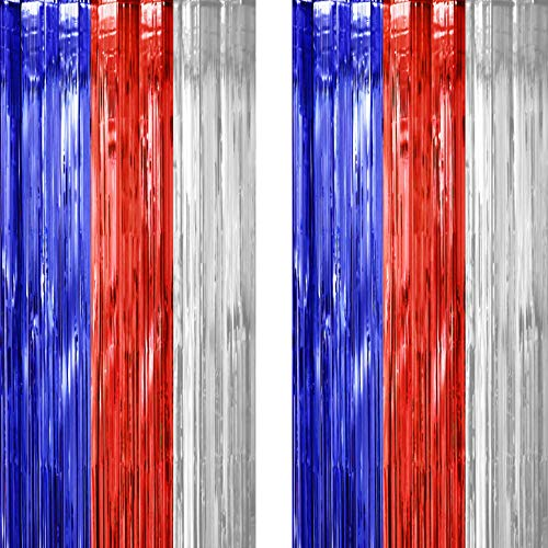 4th of July Independence Party Tinsel Foil Fringe Curtains - American Theme Baby Shower Presidents Birthday National Day Patriotic Party Photo Backdrops Props Decorations, 2pc