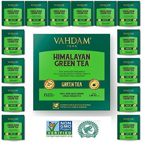 Organic Green Tea Leaves from Himalayas (100 Tea Bags), 100% Natural Weight Loss Tea, Detox Tea, Slimming Tea, ANTI-OXIDANTS RICH - Green Tea Loose Leaf - Brew Hot or Iced Tea