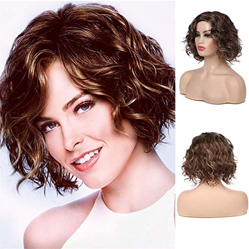 Swiking Short Brown Natural Wavy Bob Wig for White Women Layered Synthetic Hair Full Wig Party Costume WigsWig Cap