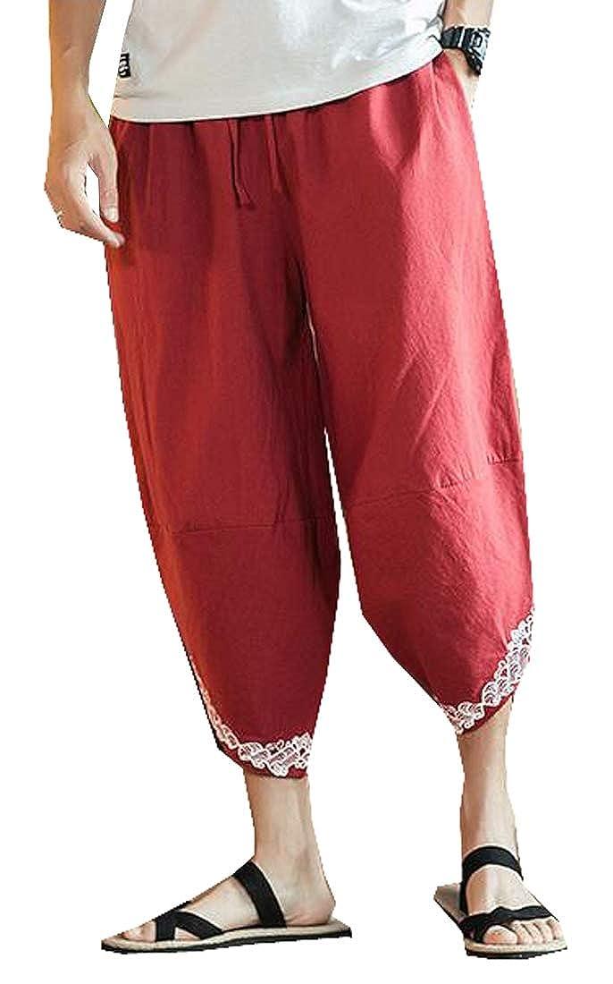 YYear Mens Chinese Style Loose Cotton Linen Harem Capri Pants Trousers