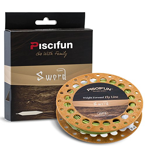 Piscifun Sword Weight Forward Floating Fly Fishing Line with Welded Loop WF5wt 100FT Moss Green