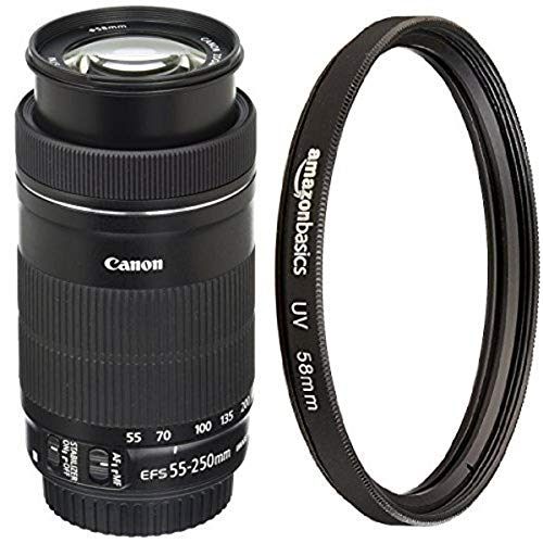 Canon EF-S 55-250mm F4-5.6 IS STM Lens with UV Protection Filter – 58 mm