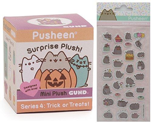 Box Treat Hamster (Gund Pusheen Blind Box Surprise Series #4 - Trick or Treats! Halloween Plush with Pusheen Super Puffy Stickers)