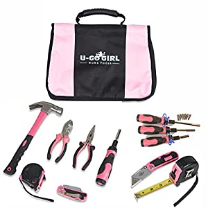 1. Household Pink Tool Kit for Women by U-GoGirl Work Tools