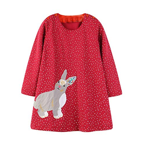Jchen(TM) Little Girl Dress Kid Baby Girl Long Sleeve Spring CDot Cartoon Rabbit Print Princess Casual Dress 1-6 Y (Age:2-3 Years, Red)