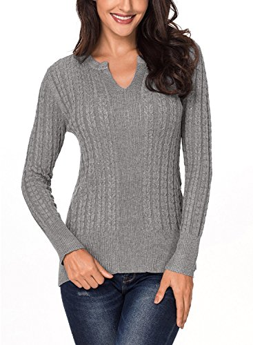 Ecrocoo Womens Casual V Neck Ribbed Cable Knit Solid Pullover Sweater Gray S ()