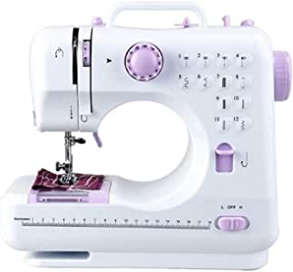 Máquinas de Coser Máquinas de coser eléctricas Herramienta de coser doméstica pequeña Hilos dobles de 2 velocidades 12 puntadas Mini tamaño portátil de mano con máquinas de coser con pedal Máquinas de: