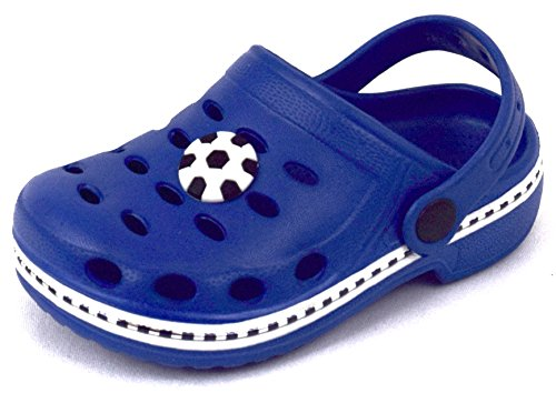 ACO Kinder Clogs & Pantoletten Hausschuhe Badeschuhe Aquaschuhe mit Sticker Rosa, Grün, Blau, Rot Gr.18-35 Blau