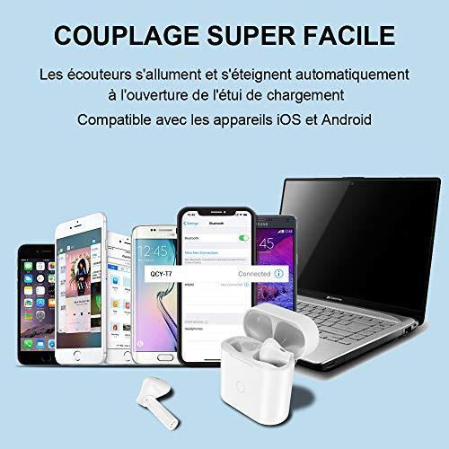 Ecouteur Bluetooth, Ecouteurs sans Fil, Oreillette Bluetooth 5.0 TWS Stéréo, USB-C Charge Rapide, Appariement Automatique, Contrôle Tactile, Stéréo Hi-FI Casque Bluetooth pour iPhone et Android