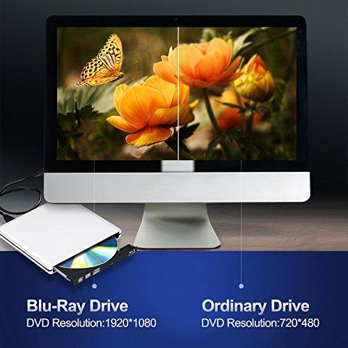 External Blu Ray DVD Drive 3D 4K,Bluray Player DVD CD Opitical Disc Burner for PC Windows Mac os by PIAEK (Image #3)