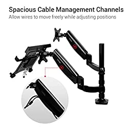Loctek Full Motion Swivel Gas Spring Dual Arm LCD Desk Monitor Mounts for 10-27\'\' Monitor and up to 15.6\