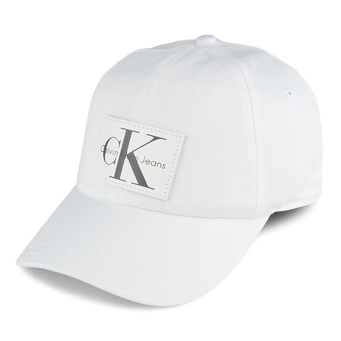 Calvin Klein Gorra de Béisbol J Re-Issue con Parche de Piel Blanco - Ajustable: Amazon.es: Ropa y accesorios