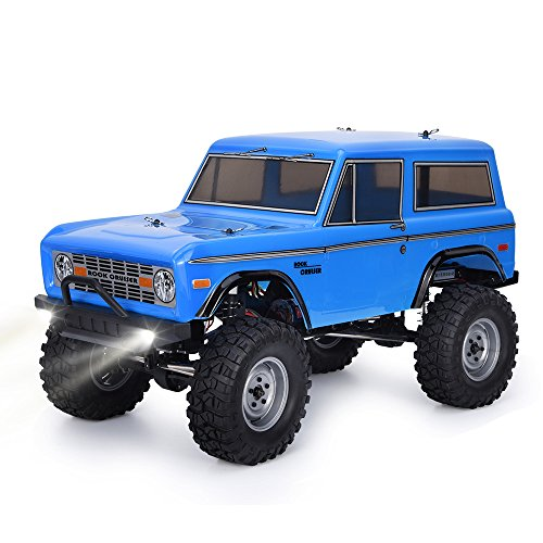RGT RC Trucks 4x4 RC Crawlers 1/10 4wd Off Road Rock Crawler RC Car with Lights Electric Waterproof Rock Cruiser RC-4 136100V2 Hobby Toy for Kids (Blue)