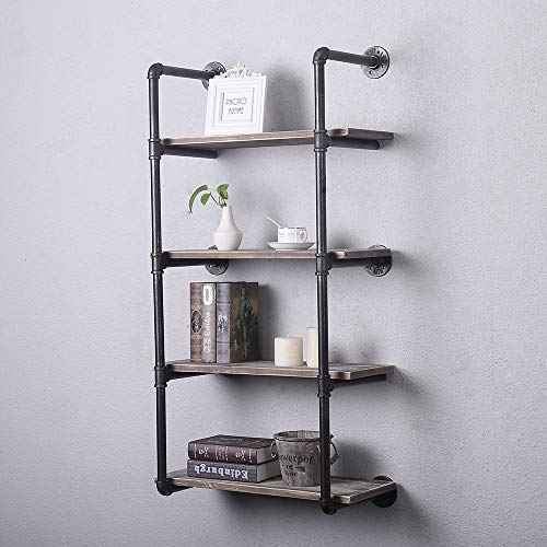 GWH Industrial Pipe Shelving Wall Mounted,24in Rustic Metal Floating Shelves,Steampunk Real Wood Book Shelves,Wall Shelf… 2