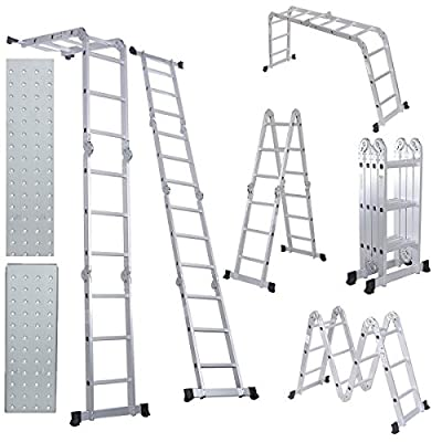 Comie 330lb 12.5ft/15.5ft Multi Purpose Aluminum Folding Step Ladder Foldable Lightweight Scaffold Ladder
