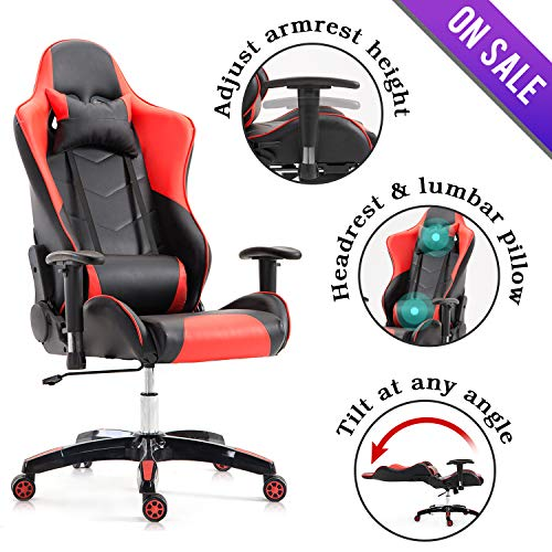 Kerms Gaming Chair Ergonomic High Back PU Leather Racing Style with Adjustable Armrest and Back Recliner Swivel Rocker Office Chair Black/Red