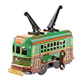 Dovewill Classic Wind Up Tram Trolley Car Model Tin Toy Clockwork Kids Toy Xmas Gift Desktop Decoration