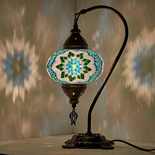 DEMMEX 2019 Turkish Moroccan Mosaic Table Lamp with US Plug & Socket, Swan Neck Handmade Desk Bedside Table Night Lamp, Decorative Tiffany Lamp Light, - Lamp Table Purple Mosaic